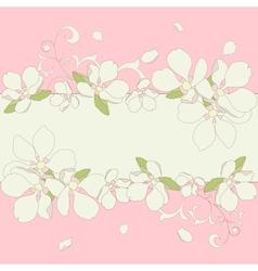 Apple blossom frame background vector