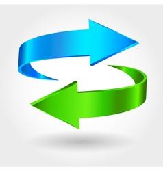 Arrows Sign Blue Green Color vector image