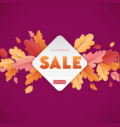 autumn sale background template leaves web banner vector image