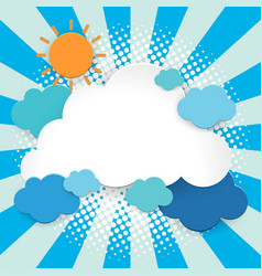 Background design with sun and clouds vector