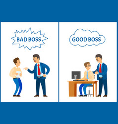 bad and good boss chief executive and workers vector image