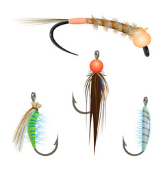 Bait variety for fishing by spinning rope vector
