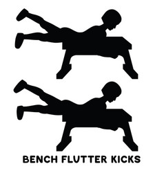 Bench flutter kicks sport exersice silhouettes of vector