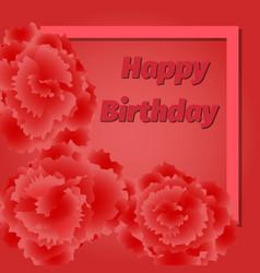 birthday red floral greeting card vector image