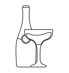 bottle with glass of champagne vector image