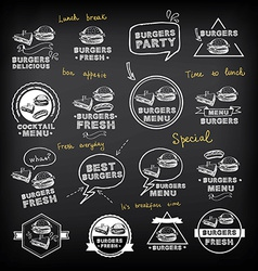 Burgers set of icons menu vector