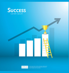 Business concept with stair and trophy cup arrow vector