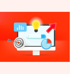 Business optimization concept computer with vector