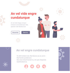 Business people using digital gadgets vector