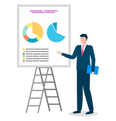 Businessman reporting on project analysis data vector