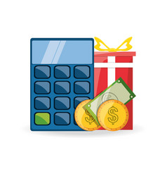 Calculator gift and money shopping concept vector