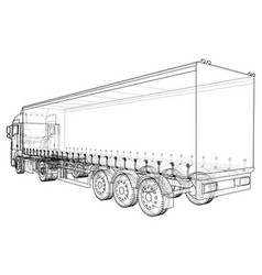 Cargo truck trailer wire-frame eps10 format vector