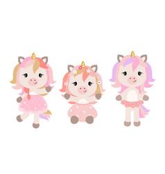 Cartoon unicorns in pastel colors vector