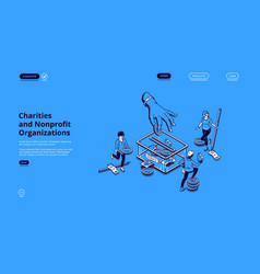 charities and nonprofit organization landing page vector image