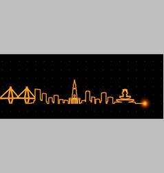 Charleston light streak skyline vector
