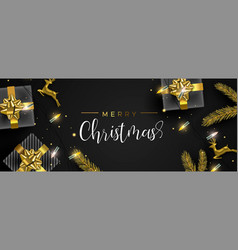 christmas gold element decoration greeting card vector image