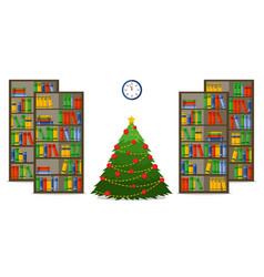 christmas room interior christmas treein library vector image