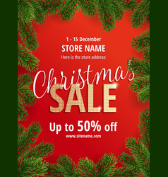 christmas sale red poster for shop vector image
