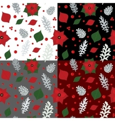 Christmas seamless pattern with holly berry vector image