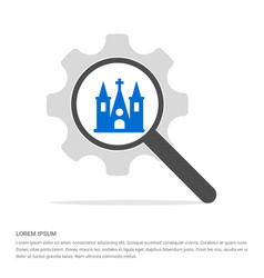 Church building icon search glass with gear vector