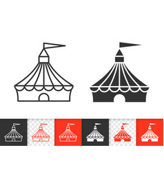 Circus tent simple black line icon vector