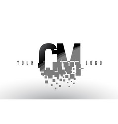 Cm c m pixel letter logo with digital shattered vector