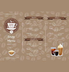 coffee shop horizontal menu template vector image