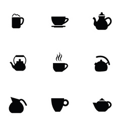 coffee tea 9 icons set vector image