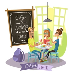 Coffee Time Design Concept With Hipsters vector