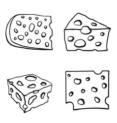 Color set of cheese vector