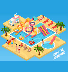 colored water park aquapark isometric composition vector image