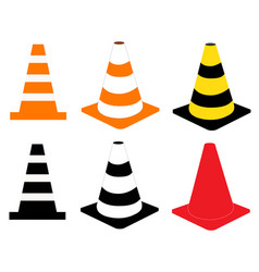construction cone icon on white background vector image