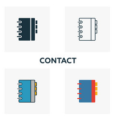 contact icon set four elements in diferent styles vector image
