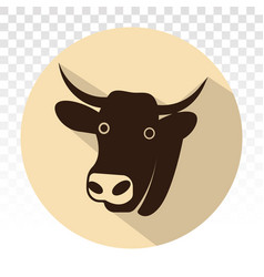 Cow head with horns - flat colour icon for apps vector