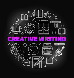 creative writing colored round outline vector image
