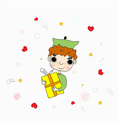 Cute boy submitting gift vector