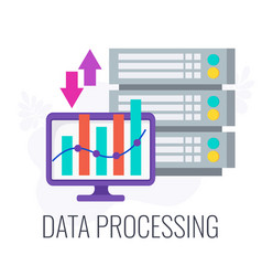 data processing icon flat business vector image