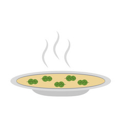 dish with soup icon vector image