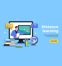 Distance learning web banner vector