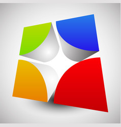 divided colorful cube with rounded inner corners vector image