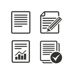 Document icons File with chart and checkbox vector image