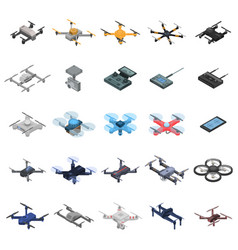 drone icon set isometric style vector image