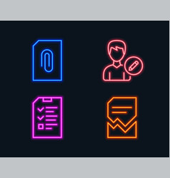 Edit person attachment and interview icons vector