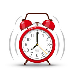 eight clock morning ringing red alarm clock vector image