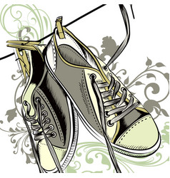 fashion background with sports boots vector image