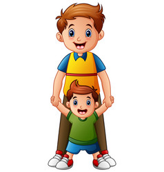 father with son holding hand together vector image