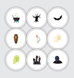 Flat icon halloween set of fortress magic casket vector