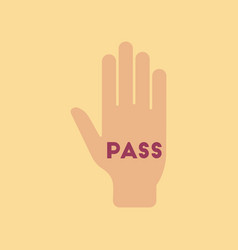 Flat icon on stylish background hand pass vector