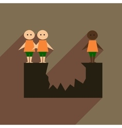Flat web icon with long shadow race people vector