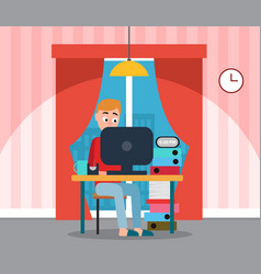 Freelancer man coder working on computer at home vector